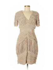 NWT - BURBERRY - Pleated V-Neck Sheath Cocktail Dress - size 8 (Tan)
