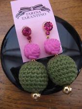 Tarina Tarantino Earrings Pink Carved Rose Olive Crochet Ball Crystal Dangle NWT
