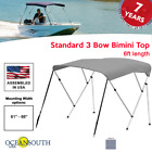Oceansouth Bimini Top 3 Bow Boat Cover Gray 61-66 Wide 6ft Long W Rear Poles