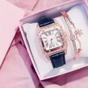 Luxury Women Watch Starry Luxury Bracelet Set Black Leather Band Quartz Bracelet