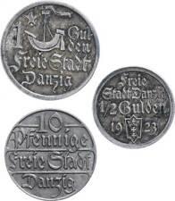 63003) 10 Pfennig 1/2 und 1 Gulden 1923 J. D5 - D7 angelaufen Grünspan fast vz