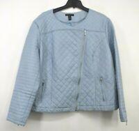 International Concepts Womens Crew Neck Zipper Pocket Asymmetrical Zip Jacket 3X