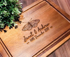 Personalised Acacia Chopping Board, Serving/Cheese Board-Moth / Butterfly Design