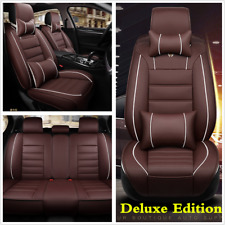 Coffee Deluxe PU Leather Seat Covers Cushion Front+Rear W/ Pillows For Car SUV
