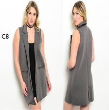 C8 New Womens Grey Plus Size 14/16 Sleeveeless Long Vests Jackets Outerwear Suit