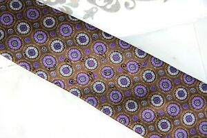 ZEGNA CIRCLE PATTERN TIE - BROWN/PURPLE - NEW with TAGS  - FREE BOXED SHIP