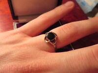 Hübscher Silber Ring Schwarzer Stein Jugendstil Art Deco Vintage Retro Chic