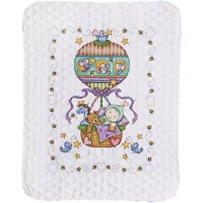 "Tobin T21767 Balloon Ride Baby Quilt Stamped Cross Stitch Kit-34""X43"""