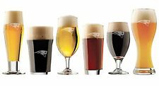 Set New England Patriots Craft Beer Glasses FREE Decal - Set of 6  Etched Custom