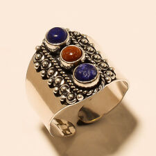 Ring Fashion Jewelry Adjustable Size Multi-Color 925 Silver Overlay Handmade