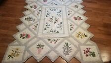Flower Garden Quilt Cotton Machine Stitched 66 x 80 Twin Size Scalloped Edges