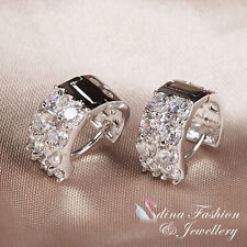 18K White Gold Plated Simulated Diamond Popular Sparkling Small Hoop Earrings