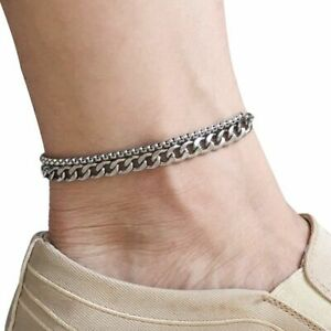 Ankle Bracelet Stainless Steel Anklet For Women Men Beach Foot Jewelry Leg Chain