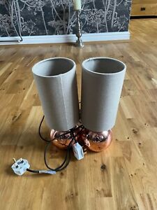 Pair Of Steel Touch Lamps Bedside Light Grey Fabric Shades