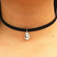 Faux Suede Choker With Seashell & Simulated Pearl Pendant Piece Fashion Necklace