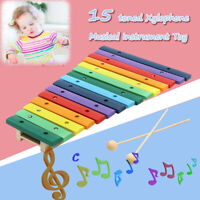15 Toned Kids Children Wooden Xylophone Piano Musical Educational Instrument Toy