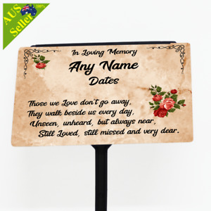 Personalised Memorial Plaque with Stake. Home Garden Memorial Tribute - Marble