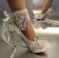"""su.cheny 3""""4 """" heel white ivory lace ribbon pearls Wedding shoes bride size 5-11"""
