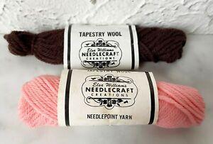 Elsa Williams Needlecraft 100% Wool Tapestry Yarn - Partial Skeins Brown & Pink
