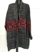 LIKE NEW DESIGNER AUTOGRAPH GREY KNIT OPEN CARDIGAN NATIVE BOHO STRETCHY L