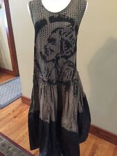 Unique Rare Rundholz Dip Sleeveless Dress Size Small S Black & Taupe