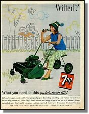 1962 7up Soda Pop, Girl on Riding Lawn Mower - Print-Ad