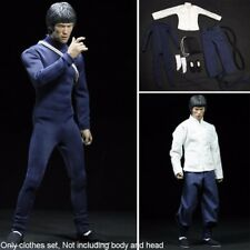 1/6 Bruce Lee White Shirt Suit Dark Blue Clothes Set For 12'' Male Body Hot Toys