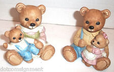 HOMCO 1444 Mommy with Boy & Daddy with Girl Bears Nursery Figures Mom Dad