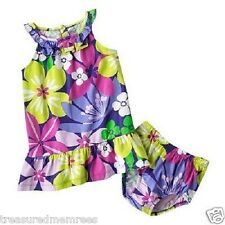 Carter's Sleeveless Purple Floral Ruffle Sundress with Matching Bloomers
