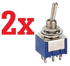2x  6-Pin DPDT ON-OFF-ON Toggle Switch 6A 125VAC 2pcs   B24