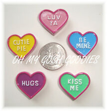 5PC VALENTINE CONVERSATION CANDY HEARTS  FLATBACK RESINS 4 HAIRBOW BOW CENTER