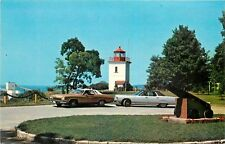 Lighthouse Point Goderich Canada Lake Huron old cars Postcard