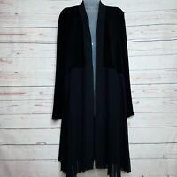Chicos Travelers Pleated Trim Jacket Black (2) Large NWT