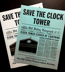 Back To The Future Save The Clock Tower Flier Set Prop/Replica CLEARANCE ITEM💥