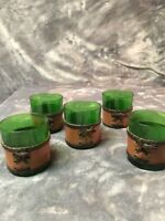 VINTAGE GREEN GLASS and LEATHER WHISKEY GLASSES