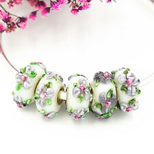 5pcs MURANO Lampwork charm Beads fit 925 silver European Bracelet Chain a719
