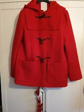 WOMENS WHITESTUFF RED WOOL BLEND DUFFLE COAT WITH HOOD SIZE 12 / 14