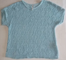 Leo and Nicole Womens Blue Short Sleeve Knit Netted Shirt Top Size XL Extra Lg