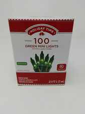 Holiday Time 100ct Green Mini Christmas Lights, Green Wire, 23ft Long