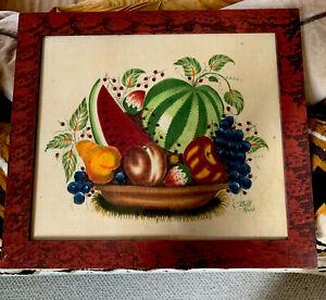 Original Folk Art Theorem FRUIT BASKET By Bill Rank ( 1921-2000)