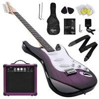 39 Inch Electric Guitar and Amplifier Complete Kit Beginner Starter Set - Purple