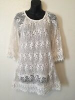 Lilly Mason Tunic Lace Net Floral Leaf White Blouse Top Womens Size S