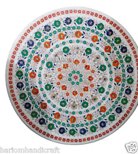 "30"" Marble Coffee Table Top Hakik Floral Inlaid Mosaic Decoration Rare Art H2918"