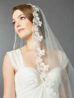 Ivory Single Layer Cathedral Mantilla Bridal Wedding Veil Scalloped Lace Edge