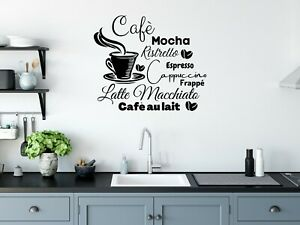 Wall Art Stickers Coffee Cup Kitchen, Removable Home Decor Decals, DIY quotes D
