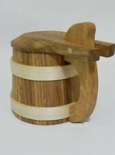 Wooden Oak Beer Mug Cup Tankard with lid Very Solid Father's Day Gift 500ml 0.5l