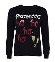 New Womens Ladies Novelty Prosecco Xmas Plus Size Ho Ho Ho Christmas Jumper Top