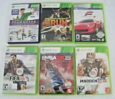 XBOX 360 (6) Game Bundle - FIFA14 MADDEN12 NBA 2615 FORZA 4 Your Shape NFS RUN