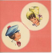 VINTAGE FASHION MODELS BOY GIRL LEGHORN CHIP STRAW HAT CLOTH CAP CARD PRINT