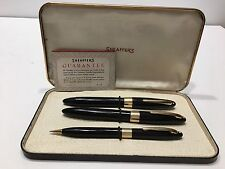 Vintage Sheaffer Valiant WD Black GFT Touchdown Fountain Pen,Rollerball & Pencil